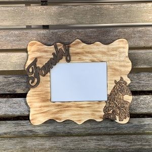 Rustic woodburned picture frame
